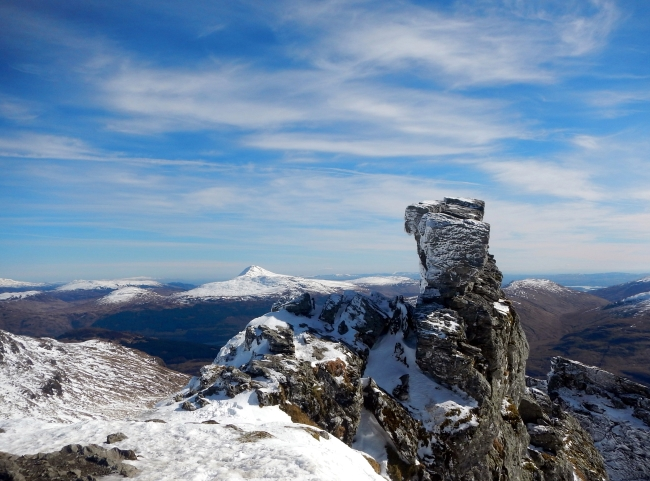 Distant Ben Lomond from the summit of The Cobbler